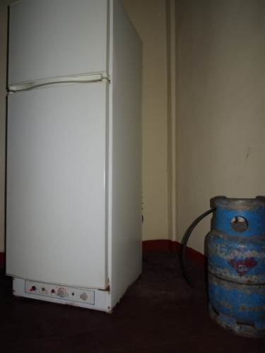 The refrigerator powered by gas and can also be used with electricity. If anyone knows where to get one of these, let me know