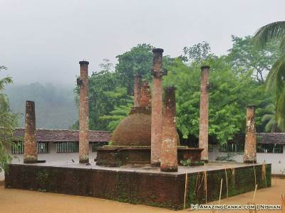 The old stupa with brick pillars of probably a watadage