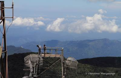 Men at work! Mahaweli maha seya on the left of the antenna and Ambuluwawa in the distance, to the right of the antenna