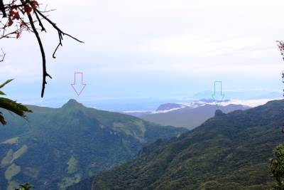 Alugal Lena Mountain is shown in red arrow and Sphinx Rock is shown by green arrow
