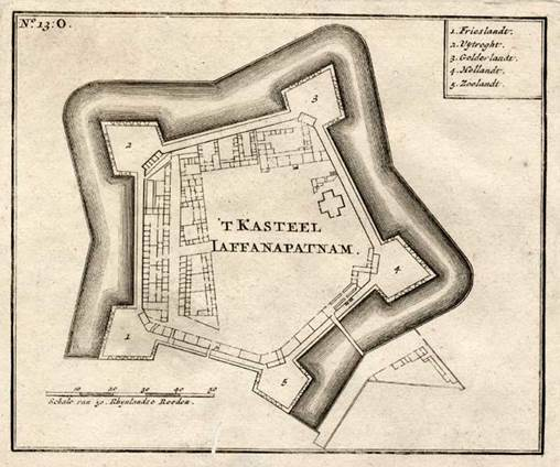 Plan of the fort. It is a star shaped pentagon with five bastions at the corners. They have named bastions as 1. Friesland, 2. Utrecht, 3. Gelderland, 4. Holland and 5. Zeeland. One side facing lagoon and the other four sides protected by outer rampart, moat and inner rampart. Extent is 56 acres.