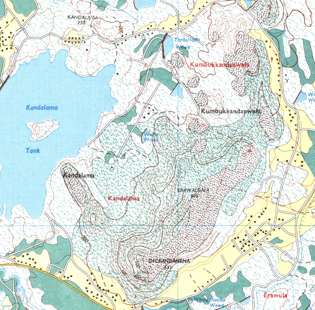 Map around Kaludiya pokuna - click to enlarge