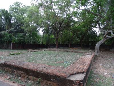 The foundation of what believed to be a part of the fort