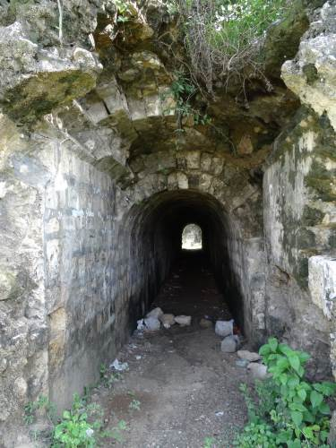 Outer boundary of the fort and one of those tunnels found