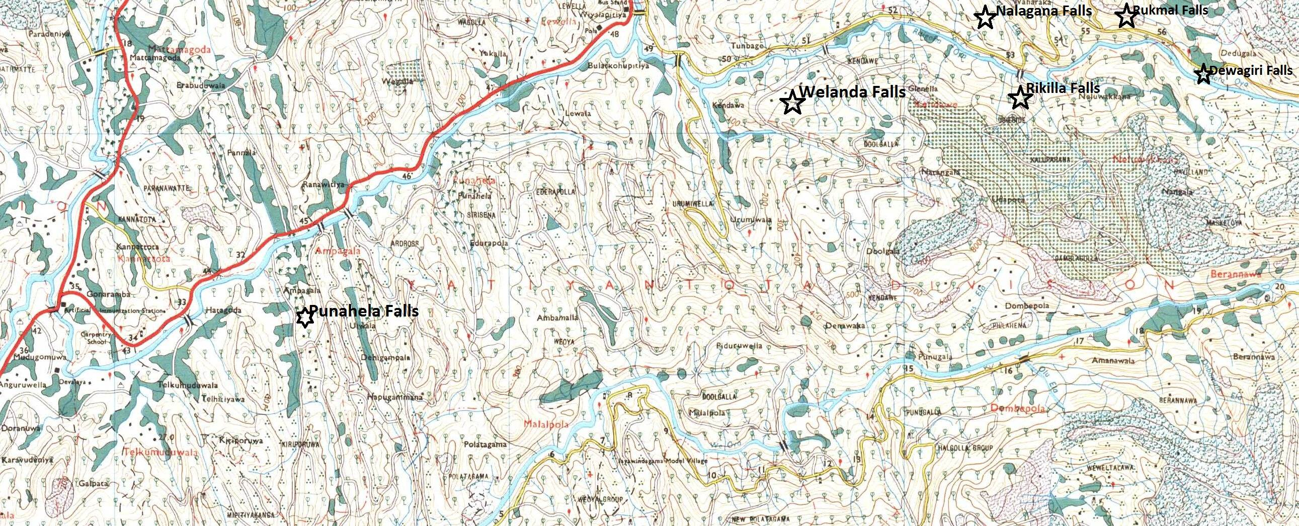 Approximate positions of waterfalls in Bulathkohupitiya-Dedugala road