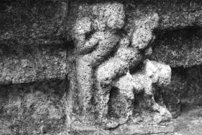 Sculpture with man-woman-lion