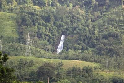 View of Beruwaththa Falls from Alupola Estate. This can be view from several places.