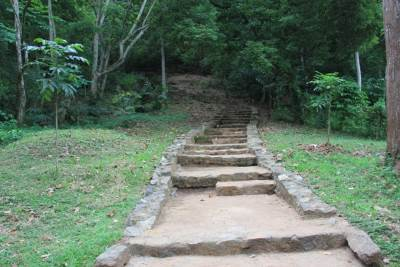 Steps. These were built recently. Original path starts from another place close by. Land where original path is running is not owned by dept of archaeology. So they have built this path in their own land.