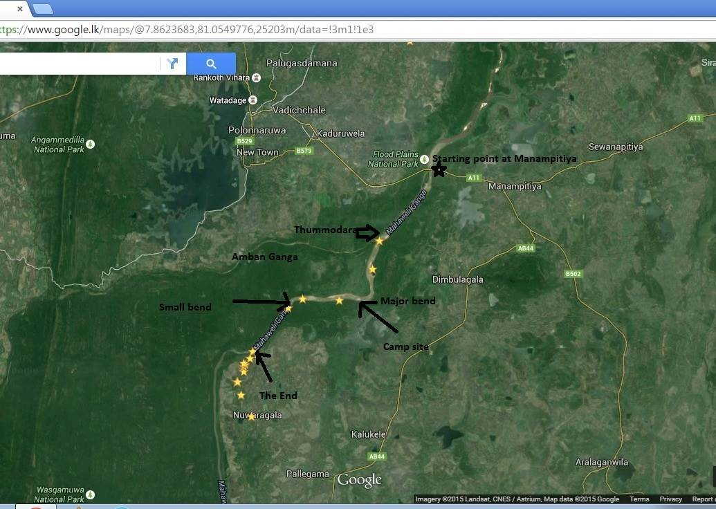 Major points of the journey in Google map. Total length is 16kms.