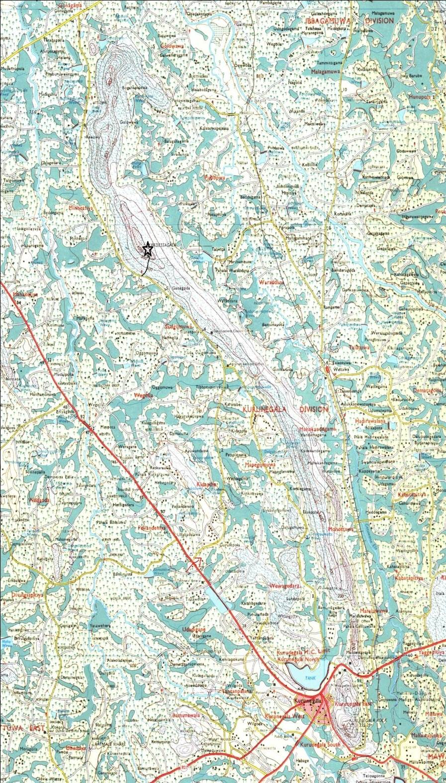 The peak of Yakdessagala shown in the map- black star. Direction from Kurunegala town is shown by red arrow