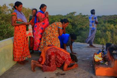"Devotees having ""Pooja""-පූජා"